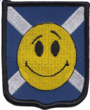 Scotland Saltire Happy Face Shield Embroidered Badge (a503)